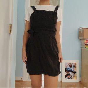 Black overall belt dress
